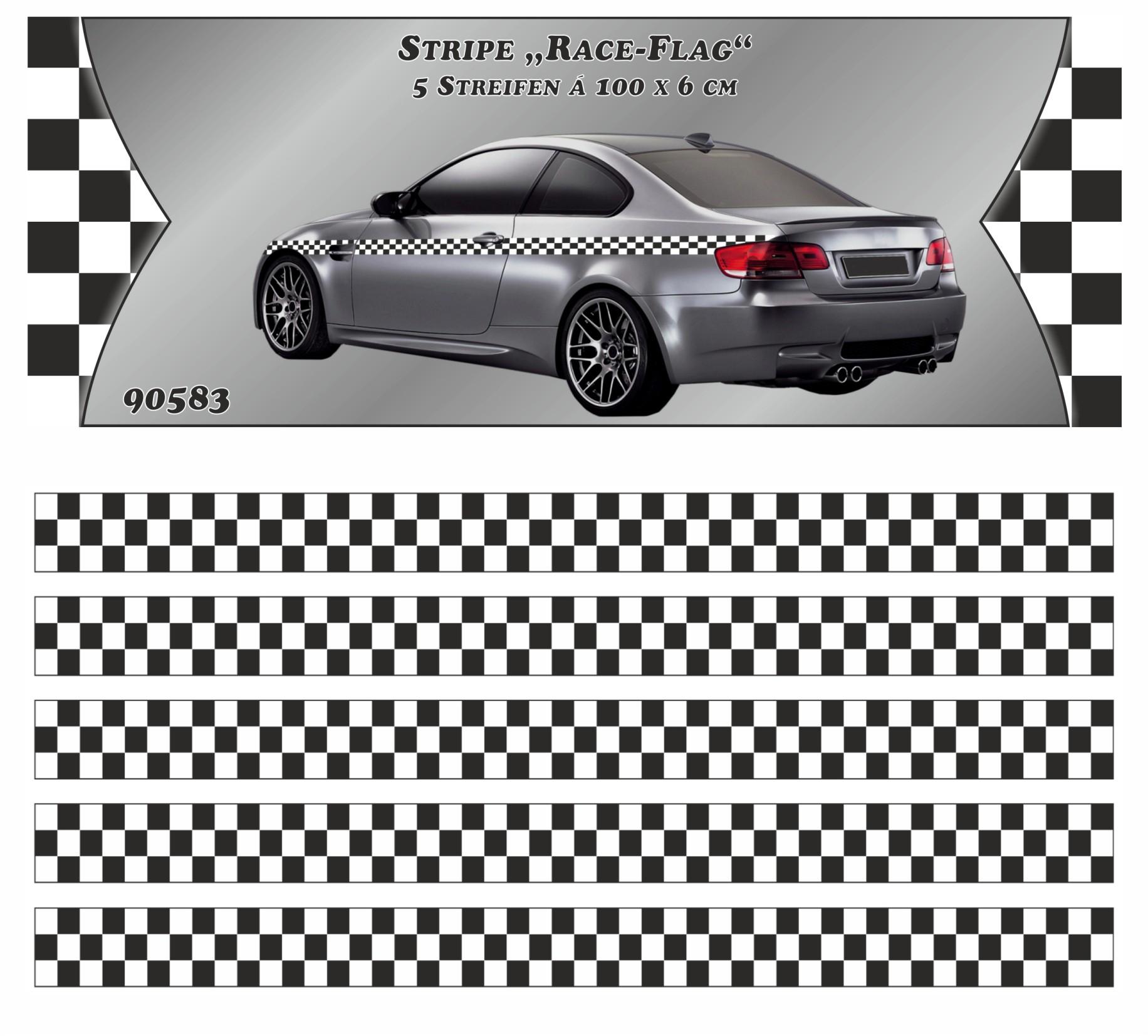 Sticker Race-Flag-Stripe 5 m x 60 mm Car-Styling Race-deco-stripes