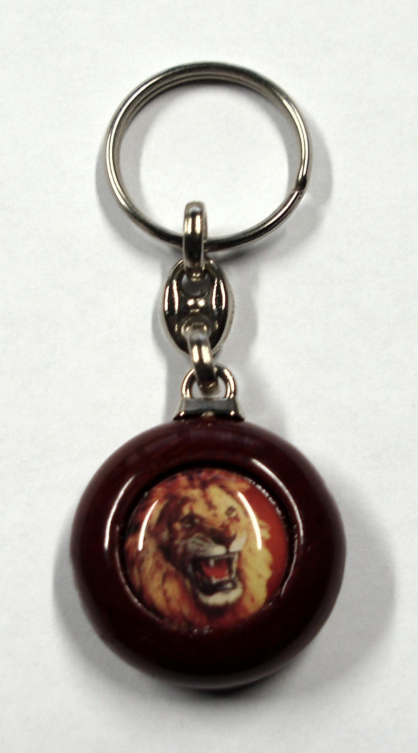 Porte clé bois rond design lion 90 x 35 mm