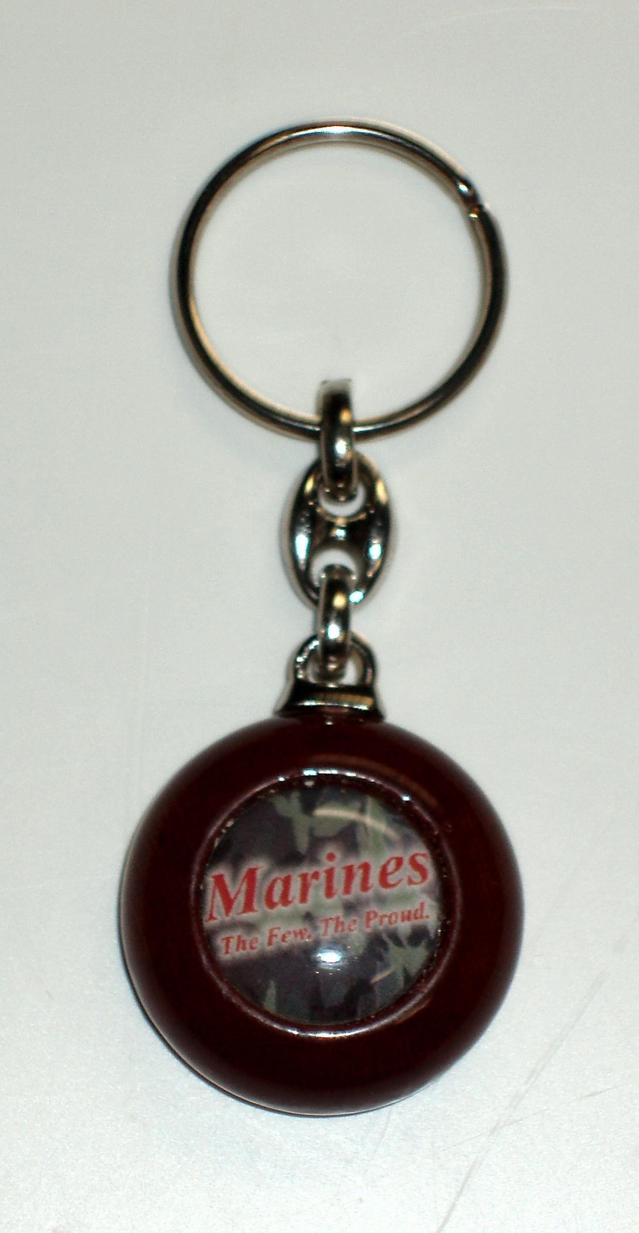 Porte clé bois rond design marines 90 x 35 mm