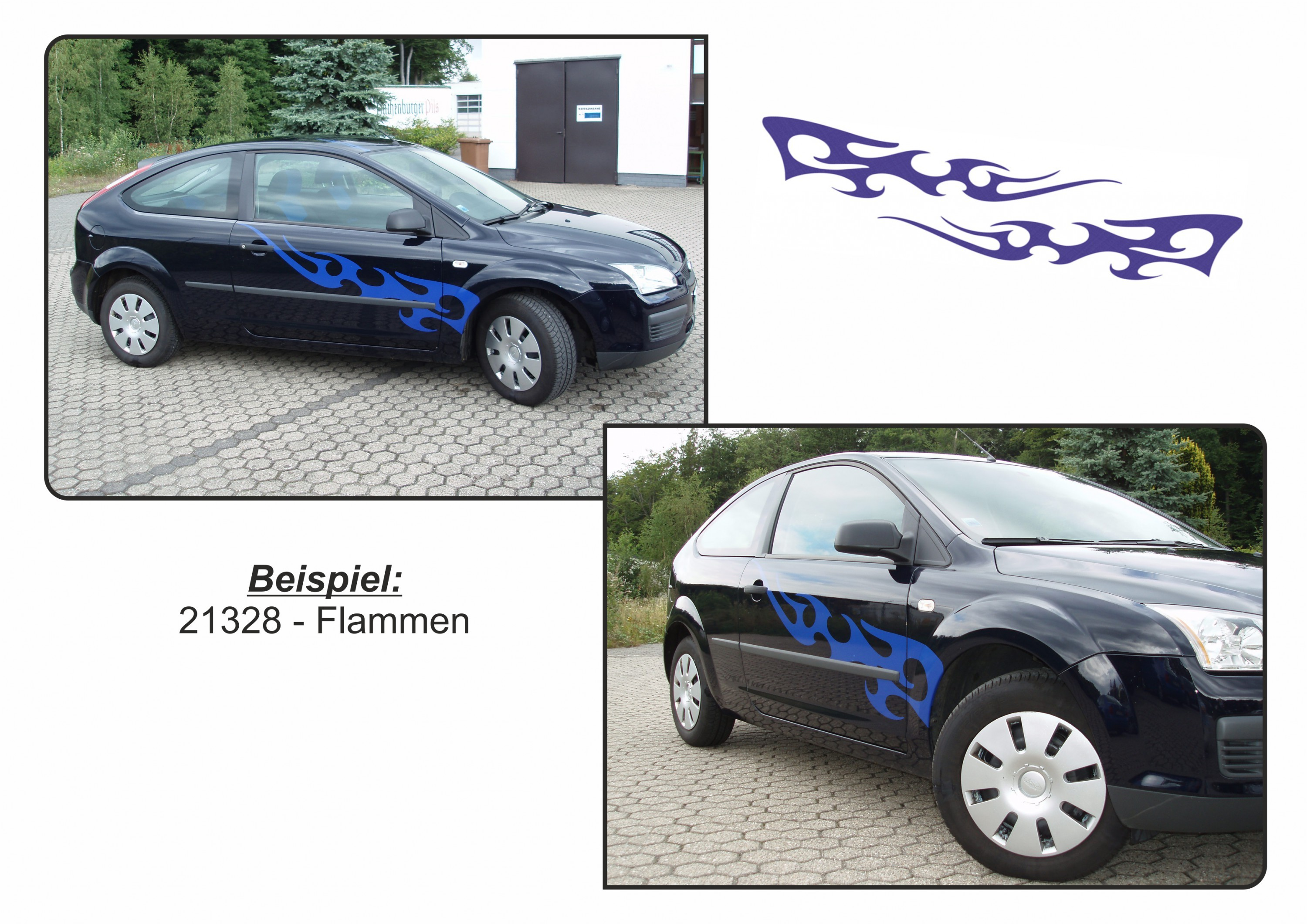 Car-Tattoo Flamme blau – Bild 3